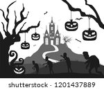 castle  pumpkin  zombie... | Shutterstock . vector #1201437889