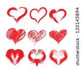 set of grunge vector hearts. | Shutterstock .eps vector #120145894