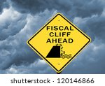 fiscal cliff warning sign on... | Shutterstock . vector #120146866
