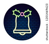 neon bell berry leaves sticker...   Shutterstock .eps vector #1201469623