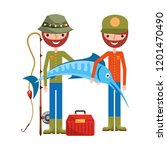 fishermen holding fish cane and ... | Shutterstock .eps vector #1201470490