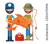 fishermen team with fish cane... | Shutterstock .eps vector #1201470496