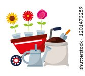 gardening wheelbarrow watering... | Shutterstock .eps vector #1201473259
