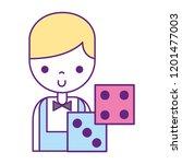 male croupier dices bet casino... | Shutterstock .eps vector #1201477003