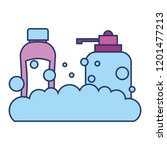 shampoo bottle and liquid soap... | Shutterstock .eps vector #1201477213