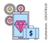cellphone suitcase money app... | Shutterstock .eps vector #1201478110