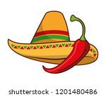 chili pepper and hat mexican... | Shutterstock .eps vector #1201480486