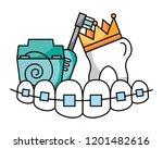teeth with braces floss brush... | Shutterstock .eps vector #1201482616