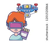 fpv goggles technology cartoons | Shutterstock .eps vector #1201520866