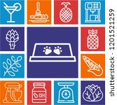 set of 13 food outline icons... | Shutterstock .eps vector #1201521259