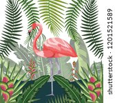 flamingo exotic and tropical... | Shutterstock .eps vector #1201521589