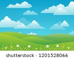 spring landscape background... | Shutterstock .eps vector #1201528066