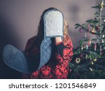 a young woman with oven gloves... | Shutterstock . vector #1201546849