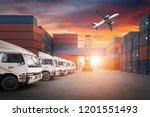 industrial container yard with... | Shutterstock . vector #1201551493