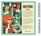retro party. men and women... | Shutterstock .eps vector #1201553929