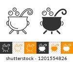 witch cauldron black linear and ... | Shutterstock .eps vector #1201554826