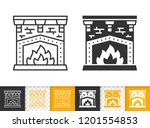 fireplace black linear and... | Shutterstock .eps vector #1201554853