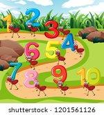 ten ant carry number...   Shutterstock .eps vector #1201561126