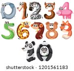 set of cute animals number... | Shutterstock .eps vector #1201561183