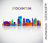 stockholm skyline silhouette in ... | Shutterstock .eps vector #1201561879