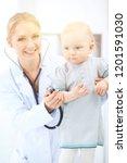 doctor and patient in hospital. ...   Shutterstock . vector #1201591030