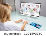 female dentist video... | Shutterstock . vector #1201593160