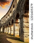 the roman amphitheater in pula... | Shutterstock . vector #1201605379