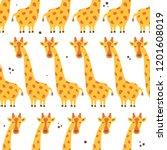 giraffes  hand drawn backdrop.... | Shutterstock .eps vector #1201608019