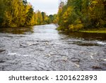 autumn forest river water scene....   Shutterstock . vector #1201622893