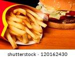 Fast Food Set Big Hamburger An...