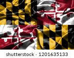 maryland flag waving in the... | Shutterstock . vector #1201635133