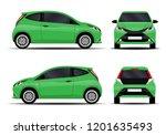 realistic car. hatchback. front ... | Shutterstock .eps vector #1201635493