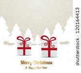 gift red white winter snow tree ... | Shutterstock .eps vector #120164413