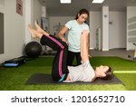 physical therapist assisting...   Shutterstock . vector #1201652710