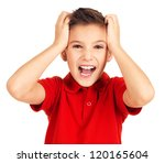 Portrait of adorable young happy boy with bright expression looking at camera - stock photo