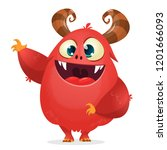 happy cartoon monster pointing... | Shutterstock .eps vector #1201666093