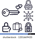set of 6 security outline icons ...   Shutterstock .eps vector #1201669420