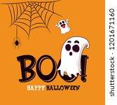 happy halloween greeting card...   Shutterstock .eps vector #1201671160