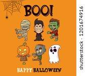 happy halloween greeting card...   Shutterstock .eps vector #1201674916