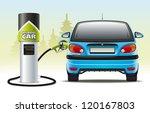 refilling a hybrid car.... | Shutterstock .eps vector #120167803