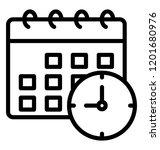 calendar with clock  timetable... | Shutterstock .eps vector #1201680976