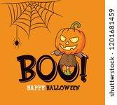 happy halloween greeting card...   Shutterstock .eps vector #1201681459