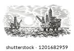 offshore oil rig engraving... | Shutterstock .eps vector #1201682959