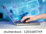hand using laptop with database ... | Shutterstock . vector #1201685749