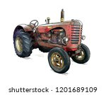 Old Red Tractor Illustration In ...