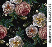 white and pink roses embroidery ... | Shutterstock .eps vector #1201697086