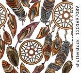 embroidery dream catcher boho... | Shutterstock .eps vector #1201697089
