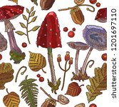 fashion fall nature embroidery... | Shutterstock .eps vector #1201697110