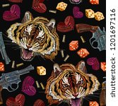 embroidery tiger and guns... | Shutterstock .eps vector #1201697116