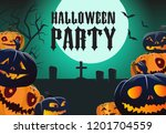 halloween party poster template.... | Shutterstock .eps vector #1201704559
